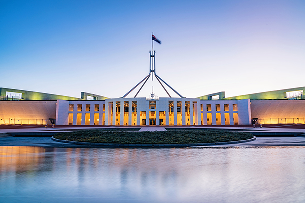The Australian Parliament House, the meeting place of the Parliament of Australia at twilight,, night. Capital Hill, Canberra, Australian Capital Territory, Australia